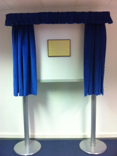 Blue Freestanding Unveiling Curtains