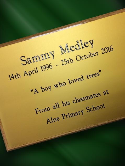 Gold Engraved Memorial Plaque
