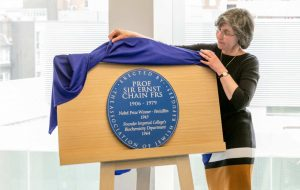 Blue Plaque on Easel Unveiling